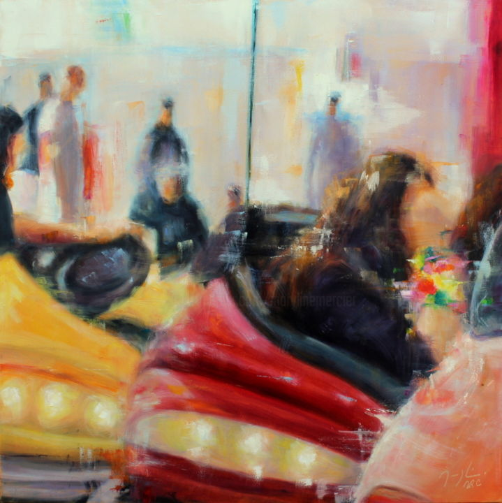 Hitch-Hiking - Painting,  50x50 cm ©2015 by maryline mercier -                                                                        Figurative Art, Canvas, Automobile, People, fête foraine, auto-tamponneuse