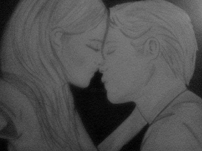 Drawing ©2012 by Marya97 -  Drawing, artwork_cat.Black and White, Kiss drawing