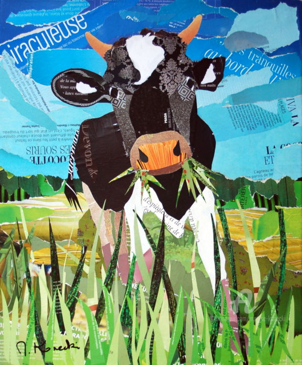Petite vache qui broute - Collages,  18.1x15x0.8 in ©2019 by Maryse KONECKI -                                                    Figurative Art, Animals, Cows