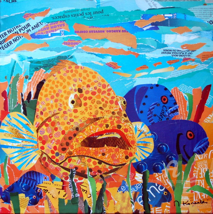 Mérou - Collages,  19.7x19.7x0.8 in ©2019 by Maryse KONECKI -                                                                Figurative Art, Animals, Nature, Fish