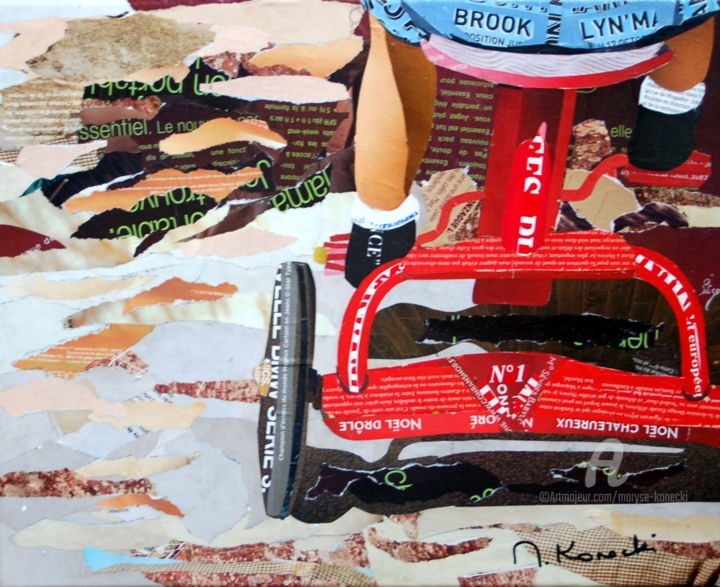 Tricycle - Collages,  13x16.1x0.8 in ©2019 by Maryse KONECKI -                                        Figurative Art, Kids