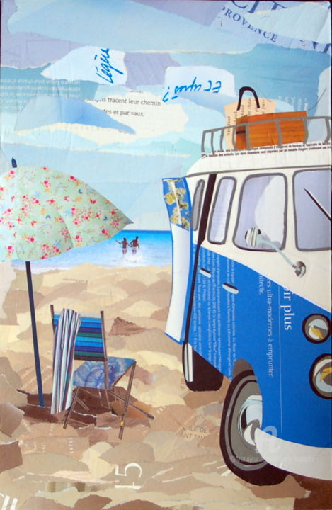 Bord de plage en combi VW - Collages,  16.1x10.6x0.8 in ©2015 by Maryse KONECKI -                                                    Figurative Art, Beach, Car