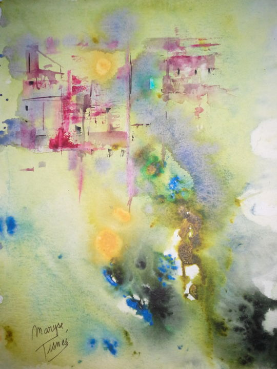 Magie des couleurs - Painting,  11.8x7.9 in, ©2018 by Maryse Tisnés -                                                                                                              Abstract Art, Aquarelle