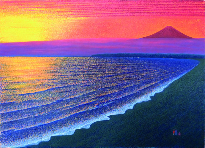 """Painting titled """"Sunset in Mt. Fuji"""" by masami-tanno1, Original Art, Acrylic"""