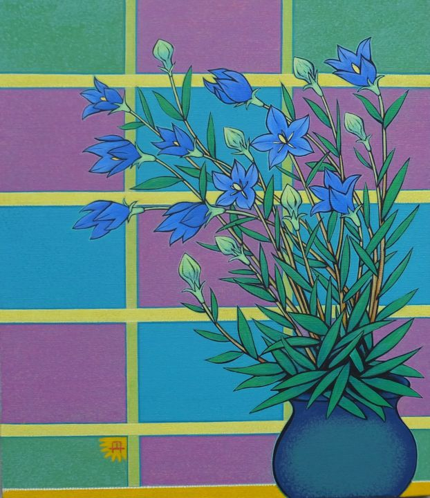 """Painting titled """"Chinese bellflower"""" by masami-tanno1, Original Art, Acrylic"""