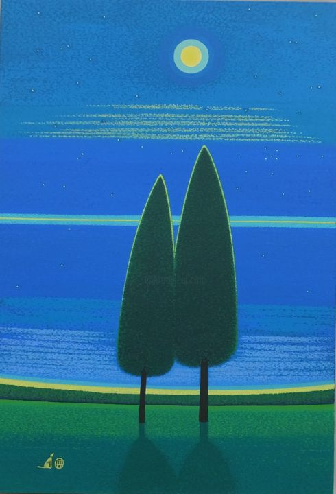 """Painting titled """"Grove of a moonlit…"""" by masami-tanno1, Original Art, Acrylic"""