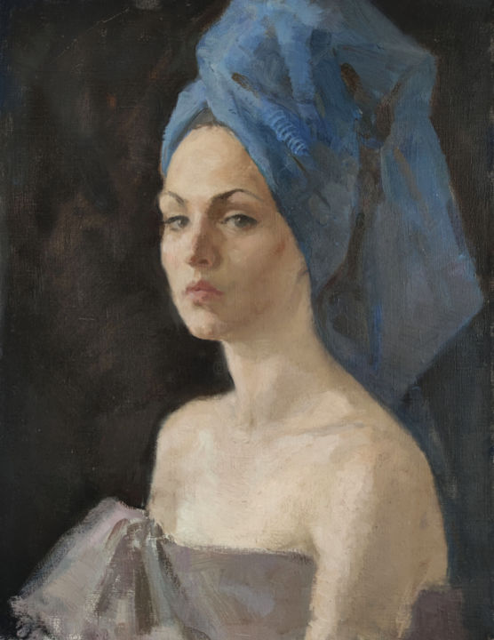 """Painting titled """"A woman in blue."""" by Egorova Maria, Original Art, Oil"""