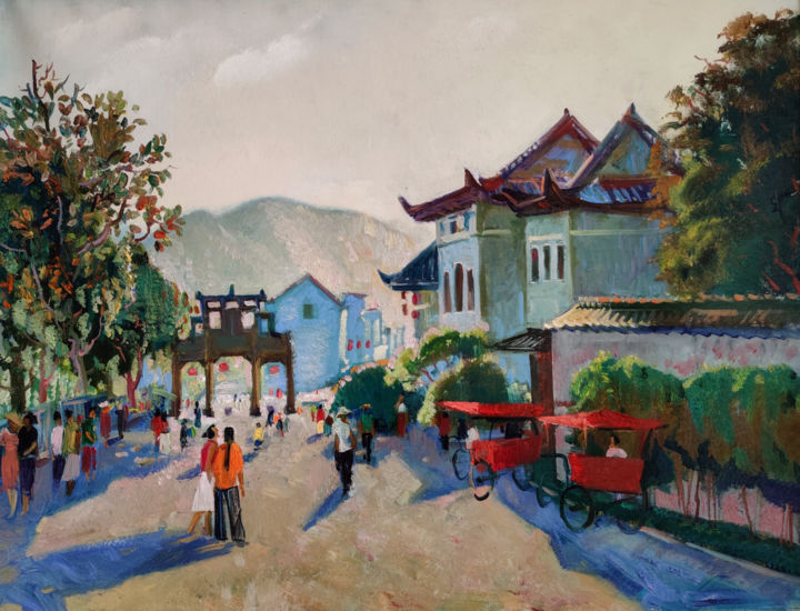"""Painting titled """"Evening in Chinese…"""" by Egorova Maria, Original Art, Oil"""