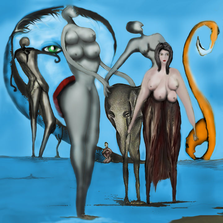 COMEDIA DELL ARTE - © 2018 peinture numérique, digital arts, fantasy, surrealism, jeanlucmasini Online Artworks