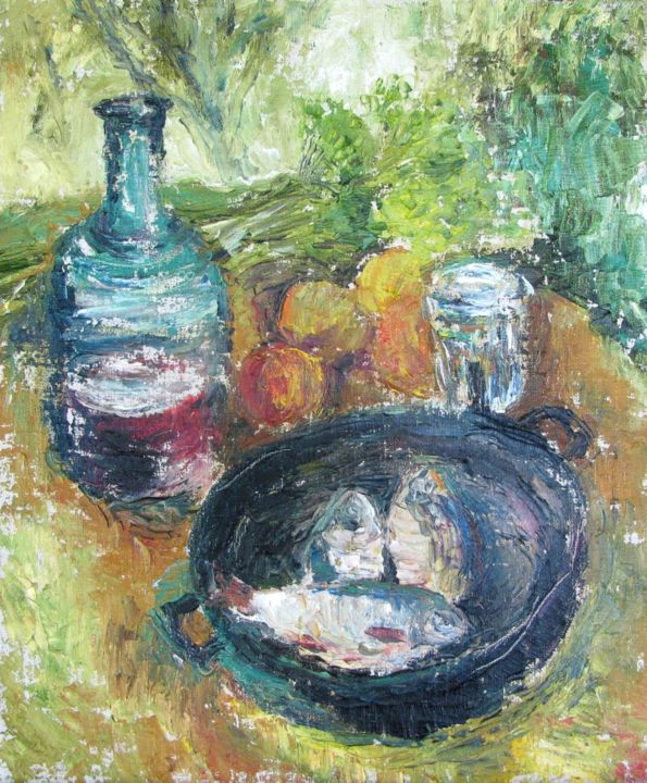"""Painting titled """"Still life with Fish"""" by Angelina Maslikova, Original Art, Oil"""