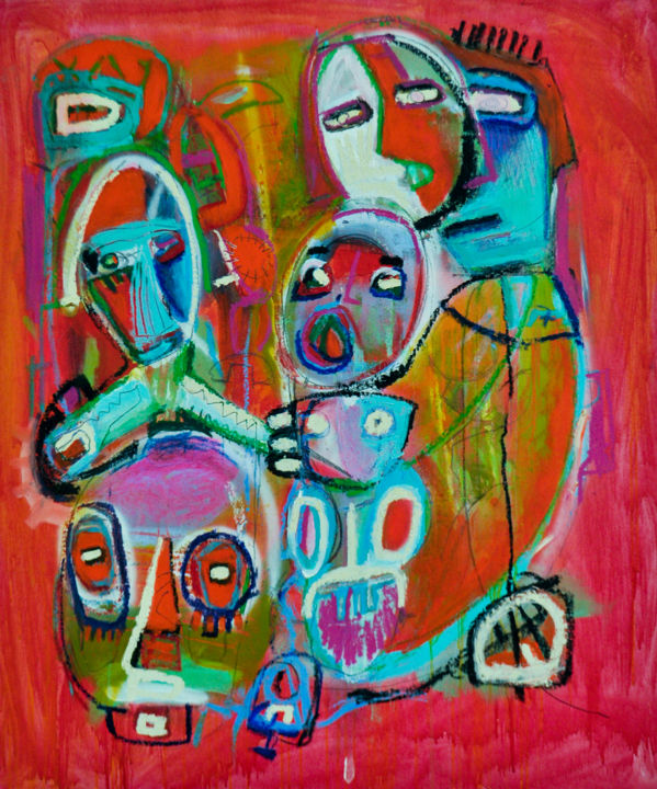 """Painting titled """"Madre con i figli"""" by Massimo Giorgi, Original Art, Acrylic Mounted on Other rigid panel"""