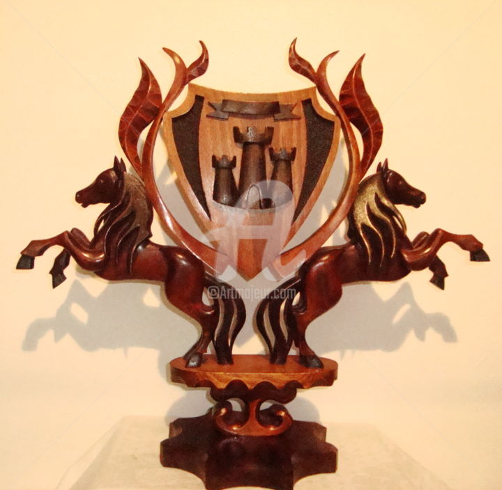 """Sculpture titled """"THREE TOWERS"""" by Angel Dobrev, Original Art, Wood"""