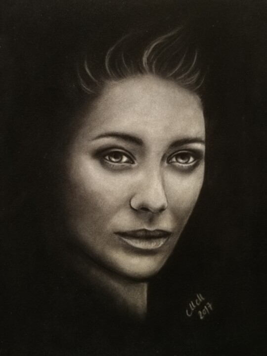 Black and white pastel portrait painting - Painting,  25x32.5 cm ©2017 by Mateja Marinko -                                                                                                                                                            Figurative Art, Illustration, Impressionism, Photorealism, Portraiture, Realism, Fabric, Paper, People, Portraits, Women, black and white portrait, pastel art, soft pastels, original portrait, portrait of a woman, woman's portrait, black and white wall art, female face, face drawing, woman's face, portraiture, portrait, people's portrait, dark painting, dark artwork, black and white