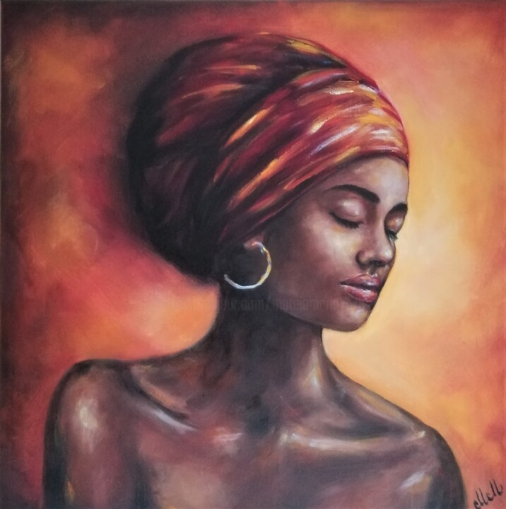 """Painting titled """"Afro American wall…"""" by Mateja Marinko, Original Art, Oil"""