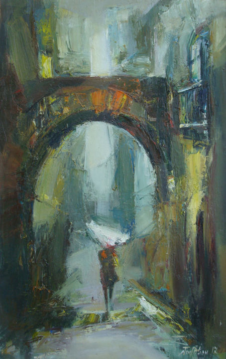 Cityscape(25x38cm, oil painting, paper) - Painting,  15x9.8 in, ©2018 by Mateos Sargsyan -                                                                                                                                                                                                                                                                                                                  Impressionism, impressionism-603, Cityscape, oil painting, cityscape, cityscape art