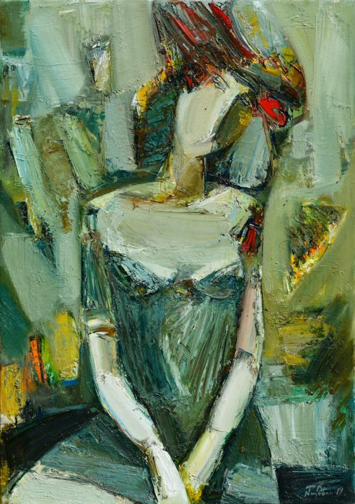Portrait 46x65cm, oil painting, ready to hang - Painting,  65x46x2 cm ©2019 by Mateos Sargsyan -                                                            Abstract Expressionism, Canvas, Portraits, abstract portrait, portraiture, female portrait, palette knife, portrait painting, oil painting, ready to hang