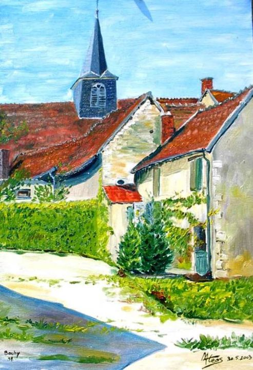 bouhy (Nièvre) - Painting,  55x38 cm ©2004 by Mateos -