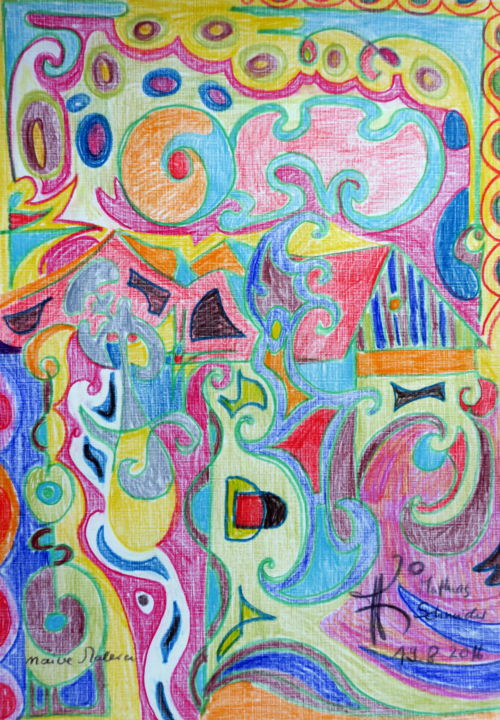 Naive Malerei   Drawing, 30x20 Cm ©2016 By Mathias Schneider   Abstract Art,