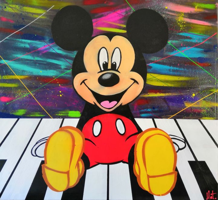 Synthmickey.jpg - Painting,  100x100x3 cm ©2019 by Mathieu Menu -                                                                            Abstract Art, Folk, Street Art (Urban Art), Colors, Heroic-Fantasy
