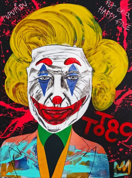 JOKER MONROE - Painting,  31.5x23.6x0.6 in, ©2020 by Mathieu Menu -                                                                                                                                                                                                                                                                                                              Pop Art, pop-art-615, joker, cinéma, pop art, monroe