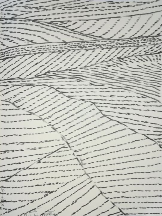 a4-180715-fields.jpg - Drawing,  29.5x21x0.1 cm ©2018 by Pertti Matikainen -                                                                                                        Abstract Art, Expressionism, Minimalism, Paper, Abstract Art, Black and White, Landscape