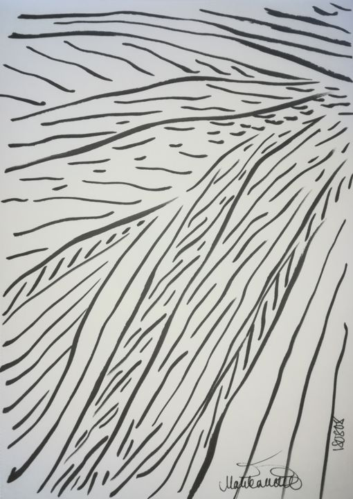 illusion-of-freedom-180808-a4.jpg - Drawing,  291.5x21x0.1 cm ©2018 by Pertti Matikainen -                                                                                            Abstract Art, Expressionism, Minimalism, Paper, Abstract Art, Black and White