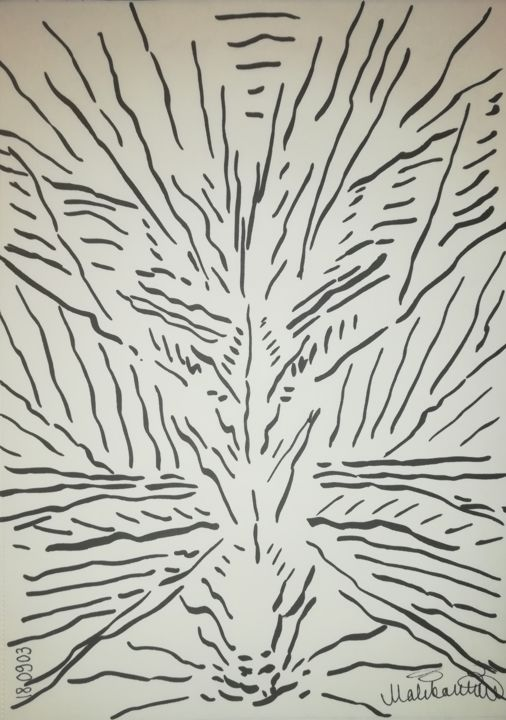 the-wildest-thing-189993-a4.jpg - Drawing,  29.5x21x0.1 cm ©2018 by Pertti Matikainen -                                                                                            Abstract Art, Expressionism, Minimalism, Paper, Abstract Art, Black and White