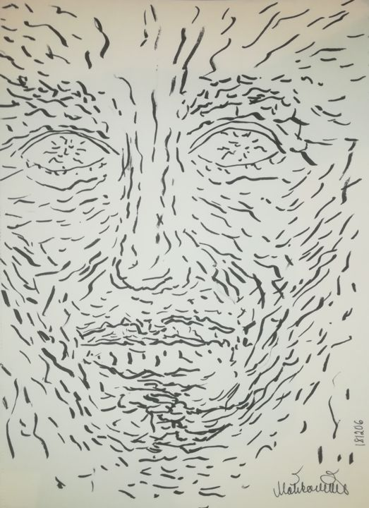 181206-fragile-a4.jpg - Drawing,  29.5x21x0.1 cm ©2018 by Pertti Matikainen -                                                                                                Expressionism, Portraiture, Paper, Black and White, Portraits, Spirituality, expressionist, expressionism, expressive, expressionistic, impressive, lines, automatic, marker, improvisation, imaginary, portrait, drawing, automatism, spiritual, fragile, emtional, sensitive, spituality, drawings, art, fine, top, pop, best, greatest, excellent, great, nice, at, the, moment, this, year, these, days, 2018, recent, new, now, nowadays, century, 21st, decade, arts, drawer, illustration, illustrator, design, graphic, graphical, graphics, designing, designer, experimental, contemporary, moder, artist, finnish, finland, pertti, matikainen, europe, european