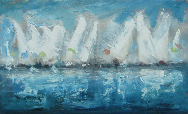White sails (AB-53), author: Mato Jurkovic - Painting,  30x50.5x2 cm ©2018 by Mato Jurkovic -                                                            Impressionism, Canvas, Boat, sails, boats, sea, white