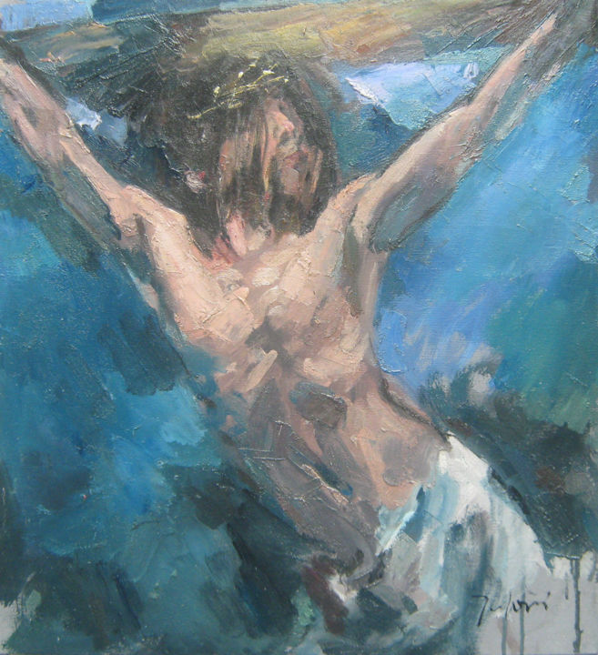 """Painting titled """"Jesus Christ on the…"""" by Mato Jurkovic, Original Art, Oil"""