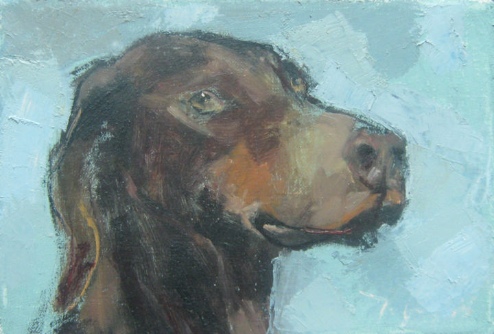 """Painting titled """"Hunting dog (LO-71)"""" by Mato Jurkovic, Original Art, Oil"""