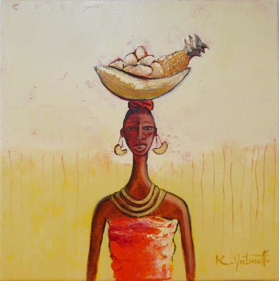 Midi - Painting,  11.8x11.8 in, ©2009 by Karine Matsaeff -                                                              femme africaine - african woman
