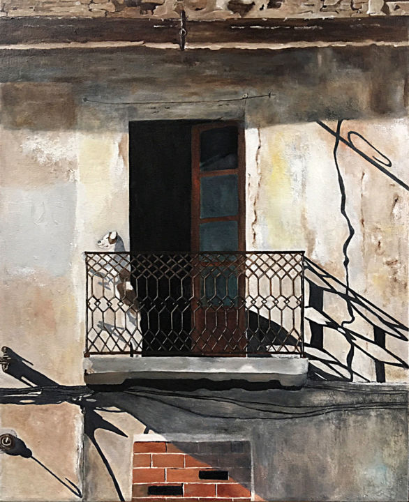 """Painting titled """"Dog on Balcony"""" by Mats Pehrson, Original Art, Oil Mounted on Stretcher frame"""