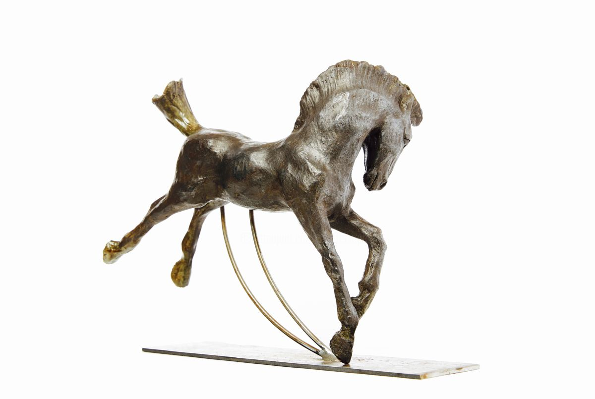HERMES - Sculpture,  27x24.5x13 cm ©2016 by Sophie MATTEI -                                                                        Figurative Art, Ceramic, Animals, Horses, sculpture, cheval, bronze, Mythologie, animalière, chevaux, horse, Sophie Mattei