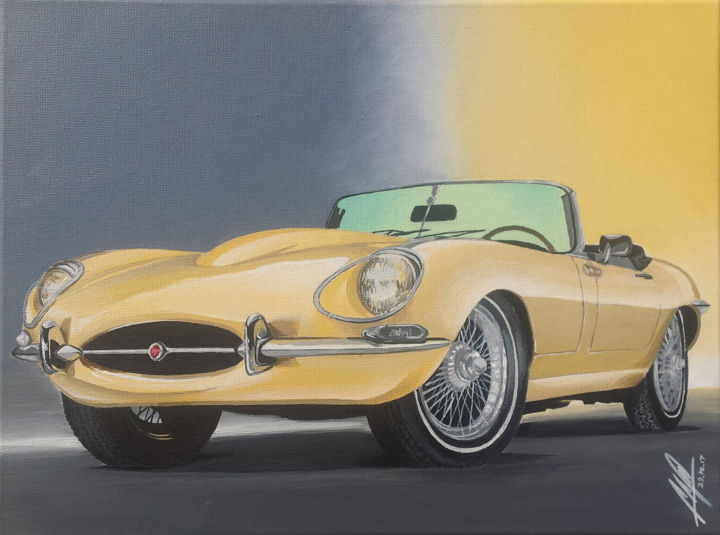 Jaguar E-Type - Painting,  40x30x1.5 cm ©2017 by Matthew Micallef -                                            Realism, Car, Jaguar, E-Type, Cabrio, Yellow, Vintage, Sports car