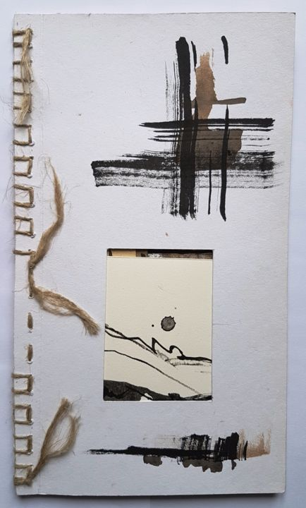 SILLAGE - Mixed Media,  31x18 cm ©2018 by Maty -                                                            Abstract Art, Paper, Abstract Art, ligne, livre d'artiste, encre