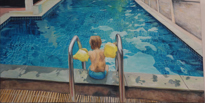 l'inconnu - Painting,  60x120x3 cm ©2017 by maude ovize -                                                                                            Contemporary painting, Canvas, Water, Kids, Light, Travel