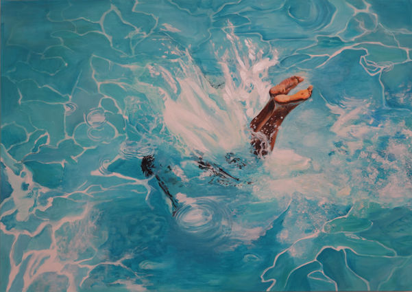 le plongeon - Painting,  116x89x3 cm ©2018 by maude ovize -                                                                                    Contemporary painting, Canvas, Water, Women, Light, piscine, saut, plongeon