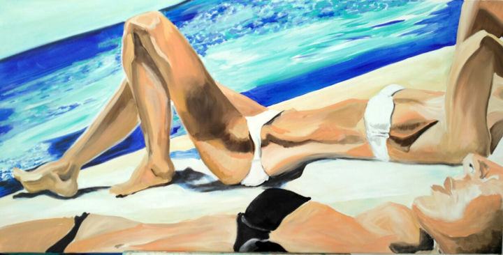 soleil-cuisant - Painting,  31.9x45.7x0.8 in, ©2018 by maude ovize -                                                                                                          Beach, Portraits