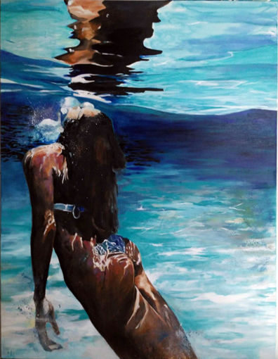 reflet sous marin - Painting,  45.7x31.9 in, ©219 by Maude Ovize -                                                                                                                                                                                                                                                                                                                                                                                                                                                                                                                                                                                                                                      Figurative, figurative-594, Water, Seascape, Portraits, piscine, sirene, nymphe, femme, océan, respiration, reflet, lumiere