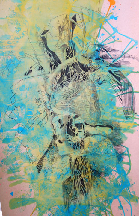 systeme-digestif- - Drawing,  119x69 cm ©2014 by maude ovize -