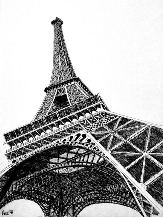 la-tour.jpeg - Drawing,  24x18 cm ©2018 by artkimau -                                                    Architecture, Cityscape, Landscape, Parigi, Eiffel, Icona