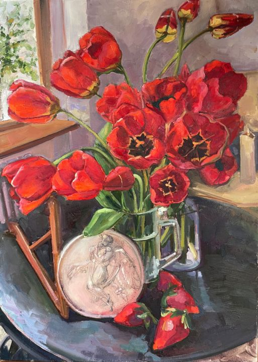 """Painting titled """"""""Red tulips on a bl…"""" by Maria Matvienko, Original Art, Oil"""