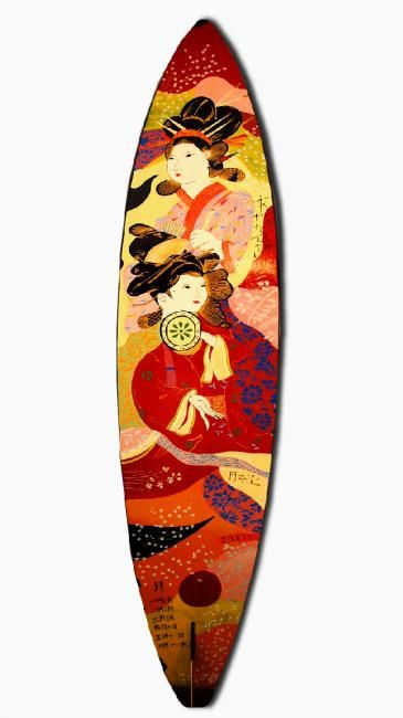 Japanese Red Geisha on Surfboard - Painting,  98x20 in, ©2004 by Mhd59 -