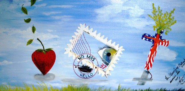 Strawberry Statement - Painting,  18x36 in, ©2006 by Mhd59 -
