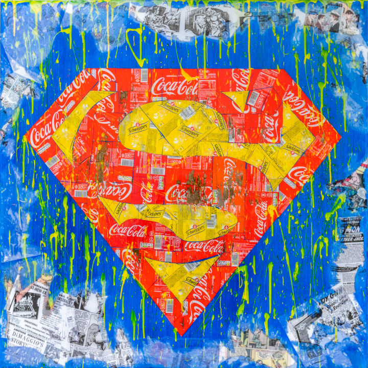 Superman Recycling - Peinture,  39,4x39,4x0,4 in, ©2019 par Maxl -                                                                                                                                                                                                                                                                                                                                                                                                                                                                                                                                                                                              Pop Art, pop-art-615, Aluminium, Bois, Bandes dessinées, Cinéma, artwork_cat.Pop Culture / Celebrity, superman, comic, pop, popart, collage