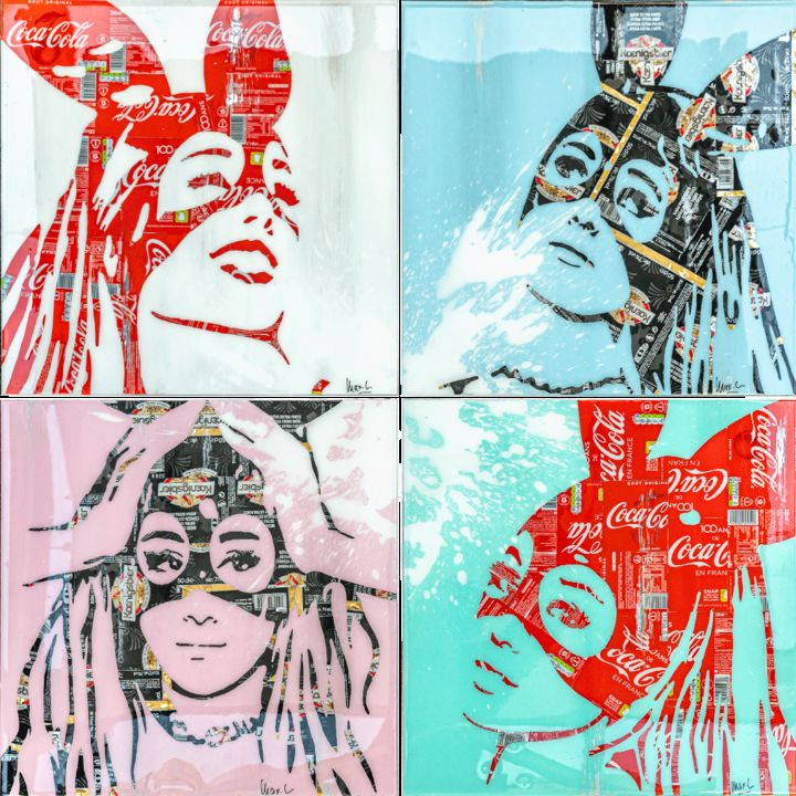 Quadriptyque Ariana - Collages,  39,4x39,4x0,2 in, ©2019 par Maxl -                                                                                                                                                                          Pop Art, pop-art-615, artwork_cat.Pop Culture / Celebrity