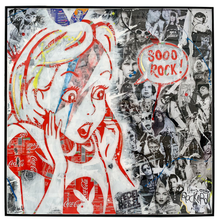 Sooo Rock - Collages,  39,4x39,4x0,4 in, ©2020 par Maxl -                                                                                                                                                                                                                                                                                                                                                                                                                                                                                                  Pop Art, pop-art-615, artwork_cat.Pop Culture / Celebrity, alice, rock, rocknroll, u2, Jackson, prince, madonna