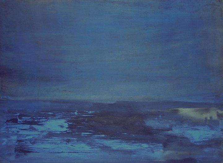 Nuit - Painting,  23.6x31.5 in, ©1987 by Maxime Mucret -