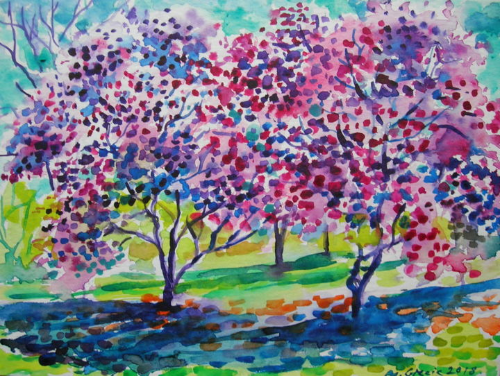 Spring blossom - Painting,  24x32x0.1 cm ©2018 by Maja Grecic -                                                                                Contemporary painting, Impressionism, Landscape, Nature, Tree, art, painting, spring, trees, orchards, pink, blossom, bloom, impressionistic, nature
